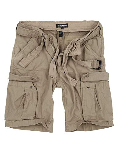 riverso Herren Cargo Shorts Fynn Kurze Hose Vintage Bermuda mit Gürtel S - 7XL aus 100% Baumwolle, Größe:7XL, Farbe:Beige (74) -