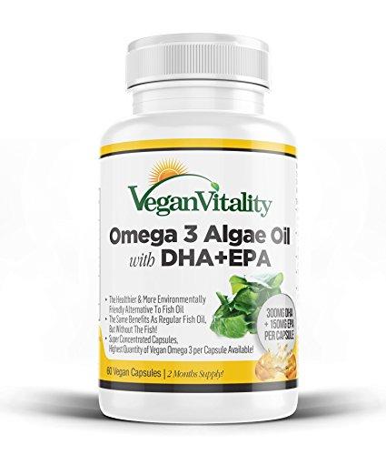 Vegan Omega-3 Fettsäuren aus Algenöl von Vegan Vitality. DHA 300mg & EPA 150mg pro Kapsel. Nahrungsergänzungsmittel für Veganer geeignet. 60 Kapseln. ohne Fischöl, gentechnik- und glutenfrei