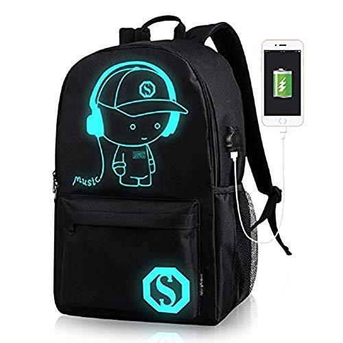 Saienn Schultaschen, Anime leuchtender Rucksack Canvas Schultertagesrucksack Boy Rucksack mit USB-Kabel und Lock und Pencil Bag für Teens Mädchen Jungen (Schwarz)
