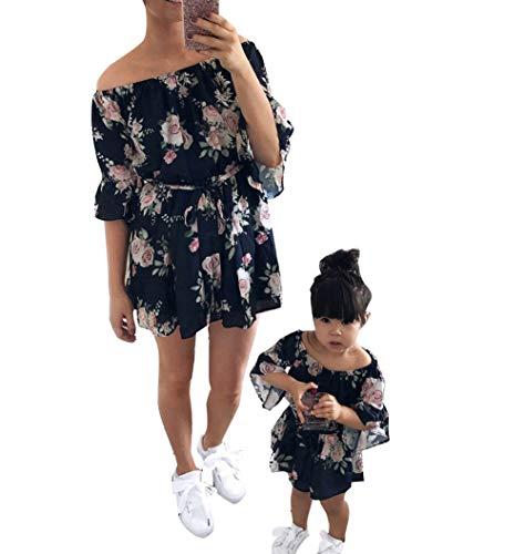 Loalirando Schönes Mutter Tochter Blumenmuster Kleider Sommer Matching Outfits Familien Kleidung Prinzessin Kleid (3-4 Y, Tochter)