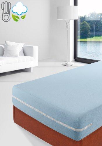 Savel, Coprimaterasso in spugna elasticizzata 100% cotone. Colore: Blu - Matrimoniale (160x200cm)