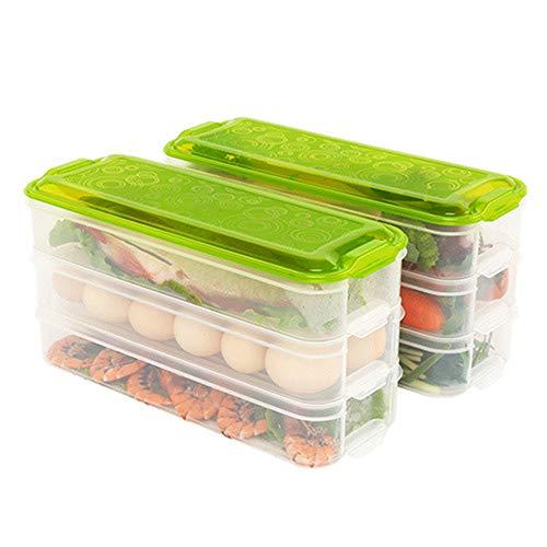 2 PCS Kitchen Pantry Kühlschrank Freezer Storage Container Box mit Hinged Lid Refrigerator Durable Storage Organizer Fruit Handled Kitchen Collecting Box Korb Rack - Kühlschrank, Pantry