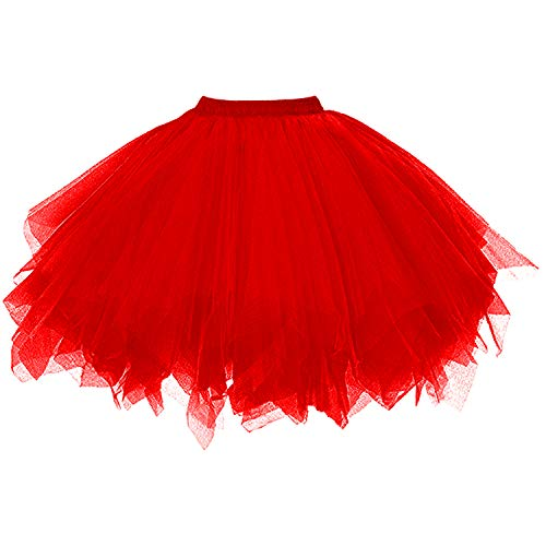 DresseverBrand Damen Petticoat 50er Rockabilly Jahre Retro Tutu Ballet Tüllrock Cosplay Crinoline Rot Large/X-Large