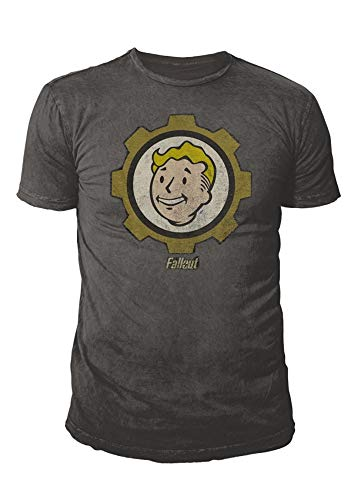 Fallout - Premium Herren Gaming T-Shirt - Vault Boy (Dunkelgrau) (S-XL) (M) (Vault Jacke Fallout)