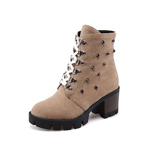 AgooLar Damen Niedrig-Spitze Ziehen auf Mattglasbirne Hoher Absatz Rund Zehe Stiefel, Aprikosen Farbe, 34