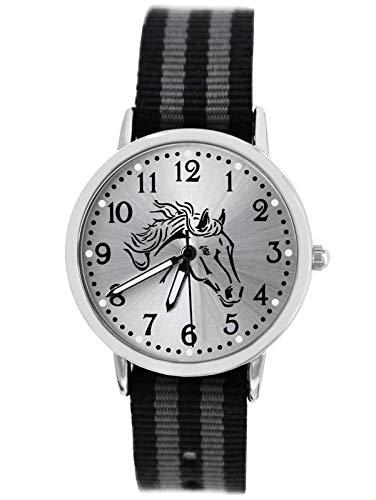 Pacific Time Jungen Uhr Pferd Analog Quarz mit Textilarmband schwarz grau Silber 10609
