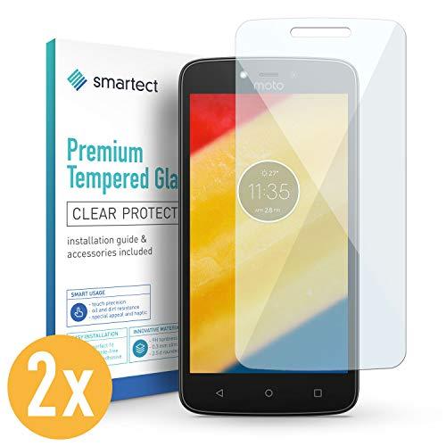 smartect 2X Protector de Pantalla de Cristal Templado para Motorola Moto C Lámina Protectora Ultrafina de 0,3mm | Vidrio Robusto con Dureza 9H y Antihuellas Dactilares