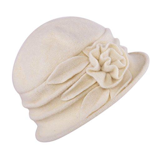 West See Damen Vintage Wolle Cloche Bucket Hut Beret Topfhut mit Blumendetail Wintermütze (beige) Cloche Bucket