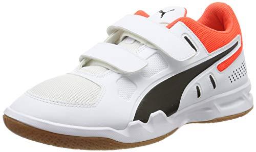 Puma Unisex-Kinder Auriz V Jr Handballschuhe, White Black-NRGY Red-Gum, 33 EU