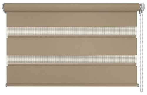 mydeco 120x160 cm [BxH] in Braun - Doppelrollo Ohne Bohren, Duorollo - Klemmfix Rollo Incl. Klemmträgerr - Sonnenschutz, Sichtschutz für Fenster (Doppel-wechsel Moderne)