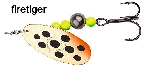Savage Gear Caviar Spinner, Hechtköder, Angelköder, Kunstköder, Barschköder, Zanderköder, Köder für Hecht, Zander, Barsch, Forellenköder, Barschspinner, Forellenspinner, Hechtspinner, Farbe:Firetiger;Größe / Gewicht / Packungsinhalt:Gr. 4 / 14g