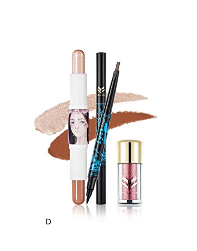 BrilliantDay 3Pcs Cosmetic Kit Eyeliner Pen Surligneur Shimmer Stick Poudre de paillettes de fard à paupières Makeup Set#4