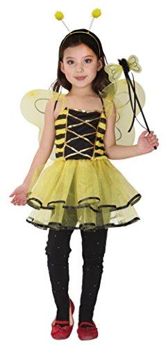Lukis Kinder Bienenkostüm Mädchen Biene Outfit Fasching Karneval Fastnacht Gelb Körpergröße (Kostüm Garten Kind Fee)