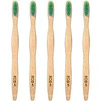 ECOet- Cepillos de Dientes de Bambú con Cerdas Suaves para Adultos | Biodegradable | Cerdas Angulosas Onduladas | Sin BPA | Anti-Bacterial | Embalaje Reciclable | Ecológico | Paquete de 5pcs