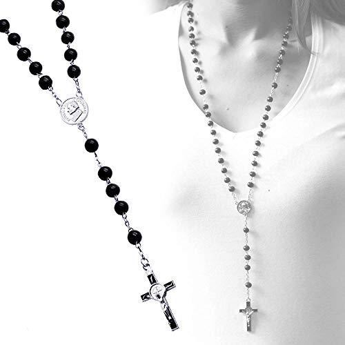 tumundo Rosenkranz Kette Halskette Kreuzkette Holzperlen Kugel Perle Schwarz Silbern 55cm Kruzifix Perlenkette Holz-Kette