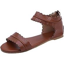 2a02c9cd2367 Juleya Damen Offene Sandalen Flach Schuhe, Reißverschluss Wohnungen Schuhe,  Boho Sandaletten, Mode Sommerschuhe