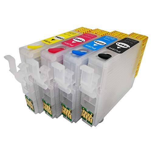 F-Ink Leere wiederaufladbare Tintenkartusche kompatibel für Epson 29 oder 29XL Tintenpatronen 4 Farben T2991 Schwarz T2992 Cyan T2993 Magenta T2994 Gelb - Pigment Tinte Schwarz Refill
