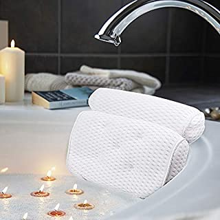 AmazeFan Bath Pillow, Luxury Bathtub Spa Pillow with 4D Air Mesh Technology and 5 Suction Cups, Helps Support Head, Back, Shoulder and Neck, Fits All Bathtub, Hot Tub, Jacuzzi and Home Spa