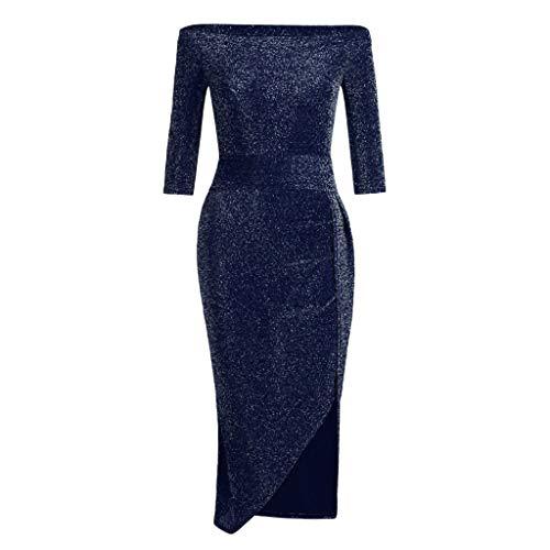 RODMA Mode Frauen Pailletten hohe Taille hohe Split schlank sexy Dress Kurzarm Dress