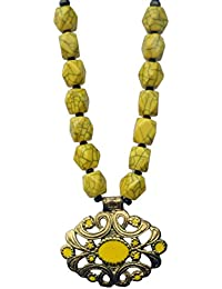 Yuvika Creations Funky Raisin Beads And Metal Pendant Yellow Charm Necklace For Women