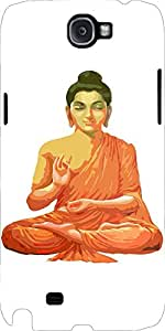 Snoogg Buddha For Peace White Case Cover For Samsung Galaxy Note 2