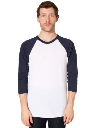 American Apparel Poly-Cotton 3/4 Sleeve Raglan Shirt - White / Navy / L -