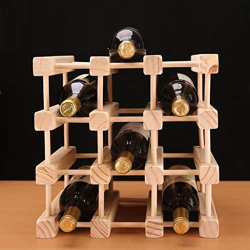 TTW 3-stufige stapelbare Weinregal-Faltbare Holz-Arbeitsplatte Kabinett Weinhalter Ablagekeller-frei stehend-perfekt für Bar, Weinkeller, Keller, Schrank, Pantry, etc-Hold 12 Flaschen, Holz. (12 Weinkeller Flasche)