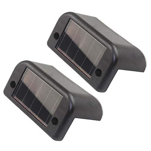 OSALADI 2PCS Impermeabile Luci di Fase Solare Luci Luci a LED Luci di ringhiera della piattaforma per il Recinto del Patio Recinzione esterna (Guscio nero/Luce bianca)