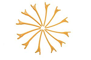 HYOUJIN® 12 pcs Salon Hair Clip, Hairpins for Updos, Crocodile Hairpins, Plastic Hairdresser Sectioning Clip For Hair Salon and Barber Use-Perfect Sectioning Dividing, Tightly Grip Hair, Keep Hair Under Control-Without Causing Hair Damage, Ideal Pull Hair Back (Orange)
