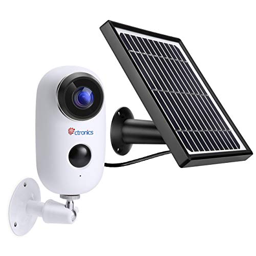 1080P Pannello Solare Videocamera di Sorveglianza per Esterni, Ctronics Videocamera di Sicurezza IP Wi-Fi, Sensore PIR, Avviso di Movimento, Visione Notturna, Audio Bidirezionale, Impermeabile