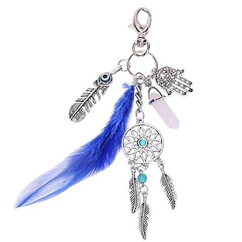 OULII keychain Keyring opale naturelle Pierre Dreamcatcher Keyring Fashion argent Boho ornement plume trousseau pour cadeau, pendentif sac à main sac à main