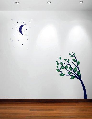 Innovative Schablonen #1138 Großer Wandbaum Baby Kinderzimmer Aufkleber Mond Sterne Nachthimmel 2,1 m hoch Baum -