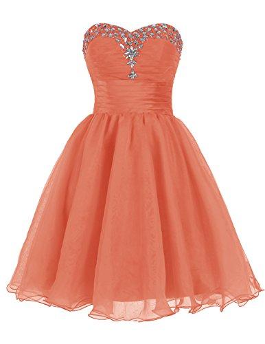 Dresstells Robe de bal Robe de soirée de cocktail courte en tulle bustier en cœur emperlée Orange