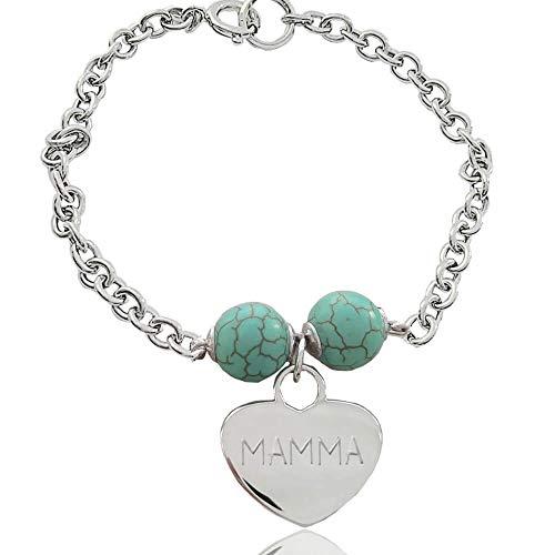MAMMA Herz-Armband Silber mit türkisem aulit graviert