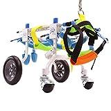 Hund Rollstuhl, Hund Auto,hunderollstuhl,geeignet für Haustier Hinterbein Praxis Rehabilitation Glied Behinderten behinderte verletzt Assist Walking, große kleine Hunde, einstellbar, 4-Wheeled 2-Rad C