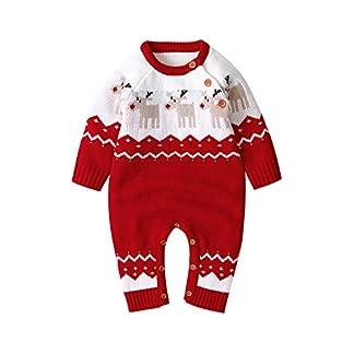mimixiong Baby Sweater Romper Conjuntos de Mono de Reno de Navidad