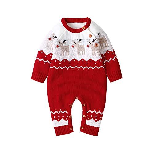 mimixiong Baby Sweater Romper Conjuntos de Mono de Reno de Navidad(Rojo,0-6 Meses)