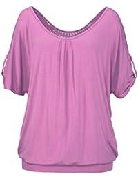 T-Shirt Damen Sommer Elegant Bluse Oversize Rückenfrei Hohl Oberteil For  Women Casual Tops V-Ausschnitt Kurzarm… 0d699b87f8