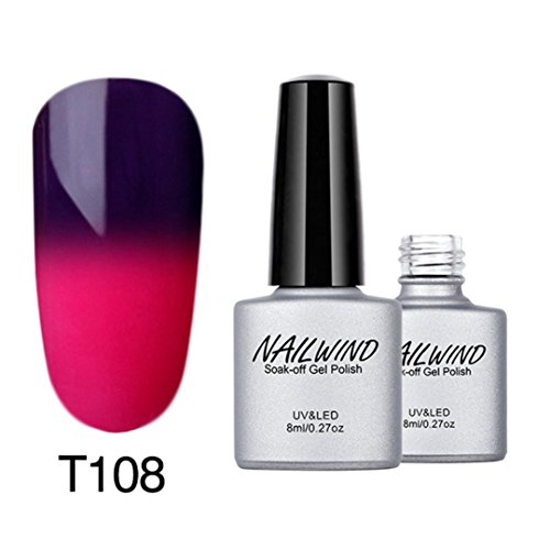2018 Mode Temperaturänderung Nagel-Öl-Klebstoff,Jaminy 8ML Farbe Ändern Gel Nail Polish Nail Art Nail Gel Polnisch UV-LED Gel Polnisch (H) (Temperatur ändern Led-lampen)