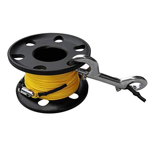IPOTCH Aluminium Finger Spool Reel Mini Fingerreel Leinenrolle Handrolle mit Nylon Leine und Edelstahl Doppelender-Karabiner - Schwarz 50m -