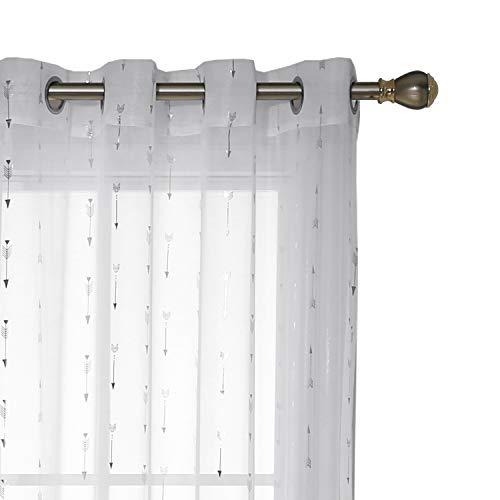 Deconovo Vorhänge Kinderzimme Ösen Transparent Gardinen Voile Vorhang 175x140 cm Weiß Pfeil 2er Set -