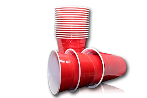 BeerBaller Premium Beer Pong Red Cups - 50 Rote College Party-Becher - Beerpong-Zubehör - 16 oz/473 ml (Ø 9,8 cm)