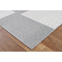benuta Alfombra moderna para exterior & interior Patio Gris 80x150 cm - libre de contaminación - 100% Polipropileno - Rombos / Cuadros - - Exterior / Terraza