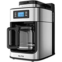 MLITER Kaffeemaschine mit Mahlwerk und Timer Grind&Brew Filterkaffeemaschine 10 Tassen 1.25L Kaffee Maker mit Automatische Abschaltung und Warmhalteplatte 1050W Silber/Schwarz