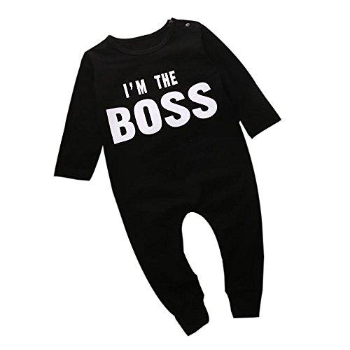 zhen+ Neugeborene Baby Junge Strampler Set I'm The Boss Gedruckt Langarmshirt Bodysuit Overalls Säugling Spielanzug Schlafanzug Outfit Bekleidungssets (12 Monat)