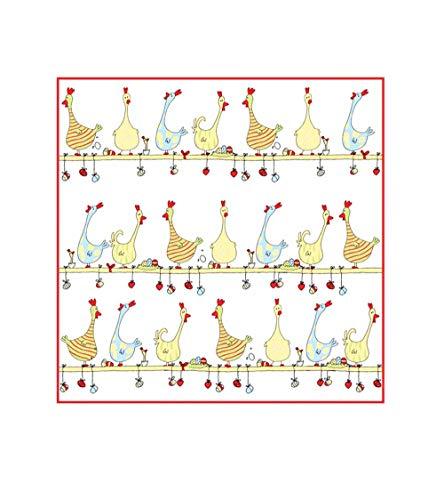 Reduziert: Kracht - Geschirrtücher für Ostern, aus Frottier; Hühner auf der Stange; 2er Pack, 50x50 cm