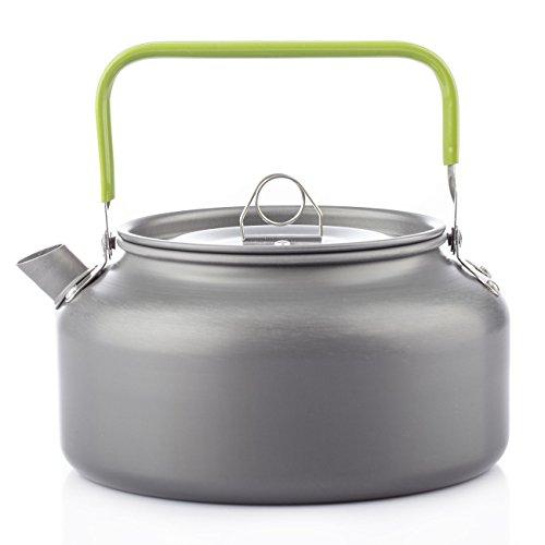 Jolliwin Tragbar Aluminium Camping Wasserkocher Kessel Teekanne Kaffeekanne für Outdoor Picknick Wandern 1,2I