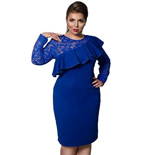 Linnuo vestito taglie forti abiti bodycon abito con pizzo vestiti party cocktail vestitini ruffles donna (blu,cn 4xl)