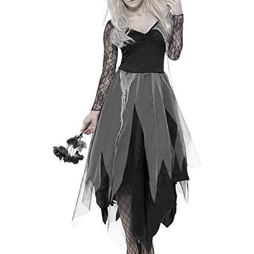 (Hotbesteu Halloween Kostüm Langarm Kleider mit Kopfbedeckungen Spitze Zombie Vampir Braut Faschingskostüm für Damen und Mädchen Cosplay (XL))
