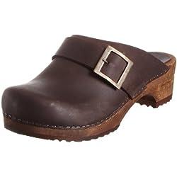 Sanita Wood-Urban open oil 453062/78 - Zuecos de cuero para mujer, color marrón, talla 39